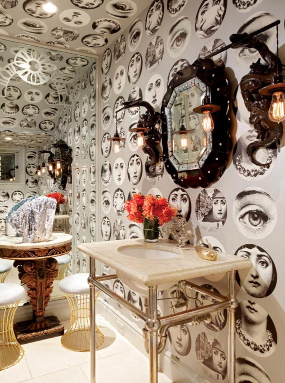 Ken Fulk Fornasetti faces wallpaper in bathroom Pacific Heights Tudor