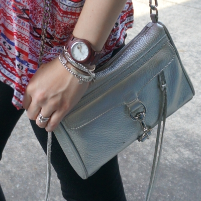 Rebecca Minkoff metallic silver mini MAC Cora JORD wood watch | AwayFromTheBlue
