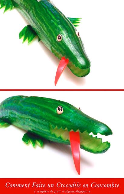 1 sculpture de fruit et l gume comment faire un crocodile en concombre how to make a cucumber. Black Bedroom Furniture Sets. Home Design Ideas