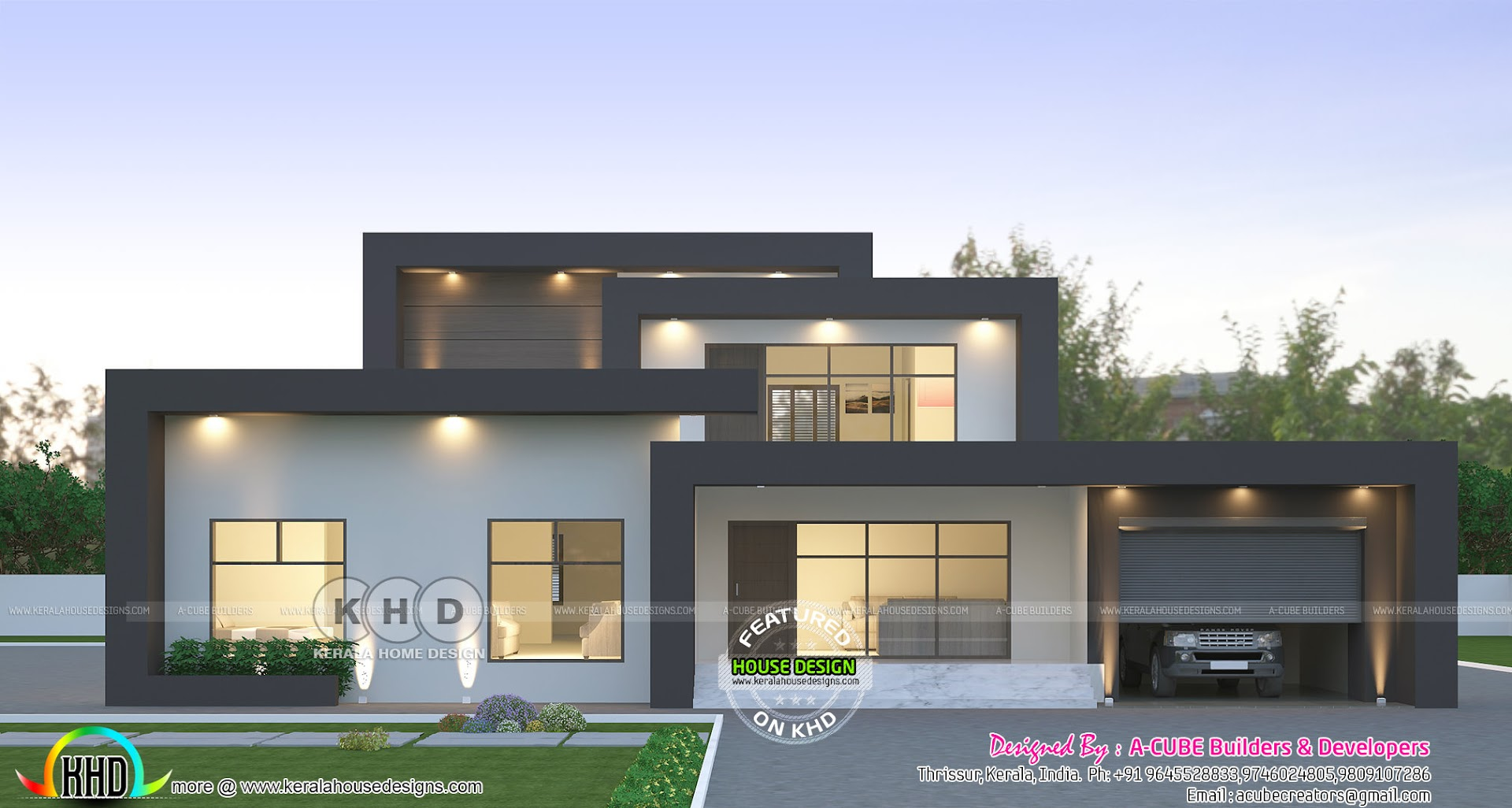 2423 Sq Ft Box Model Contemporary House Kerala Home
