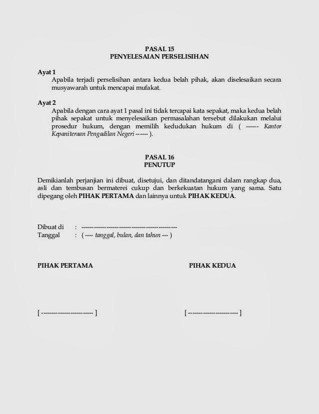 Contoh Surat Perjanjian Kontrak Kerja Lengkap Terbaru Lalod