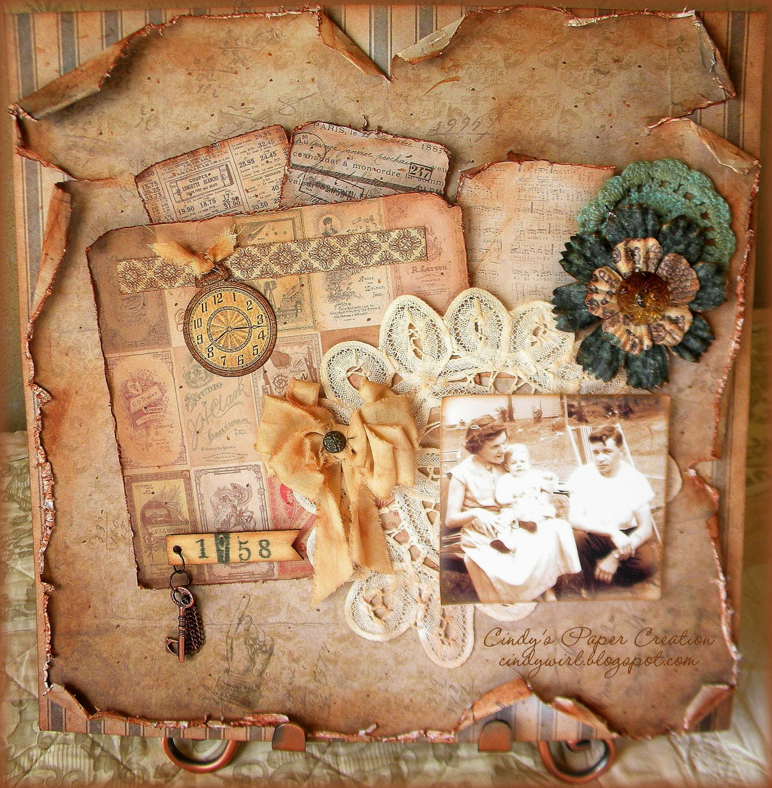 vintage scrapbooking layout