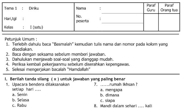 Kisi-kisi dan Soal UAS Tematik Kelas 1 SD Semester 1