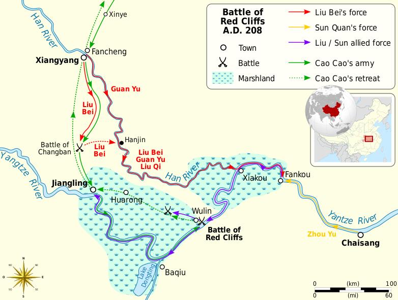 แผนที่สามก๊ก ในศึกผาแดง Battle of Red Cliffs A.D.208 Map