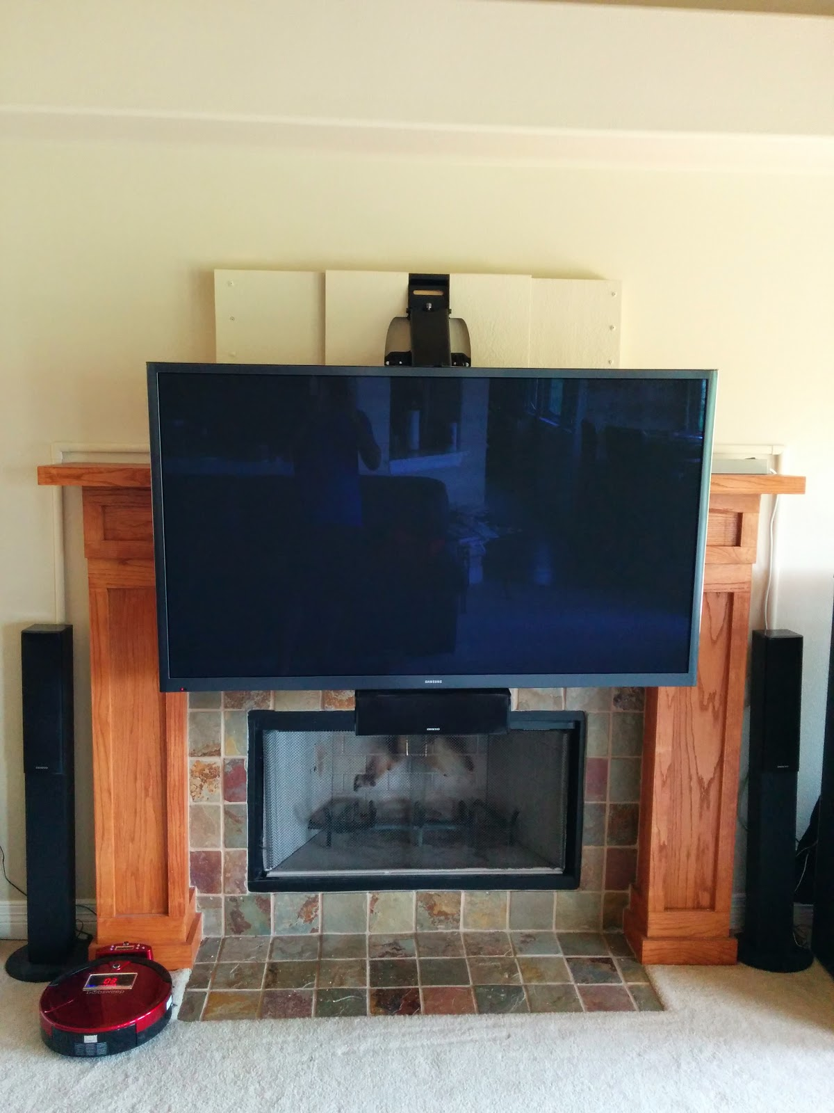 mounting a 64inch plasma tv over a fireplace muthu 39 s perspective. Black Bedroom Furniture Sets. Home Design Ideas