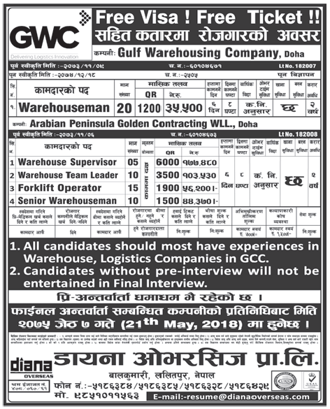 Free Visa Free Ticket Jobs in Doha Qatar for Nepali, Salary Rs 1,77,480