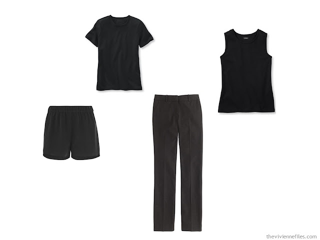 A black common capsule wardrobe core of four