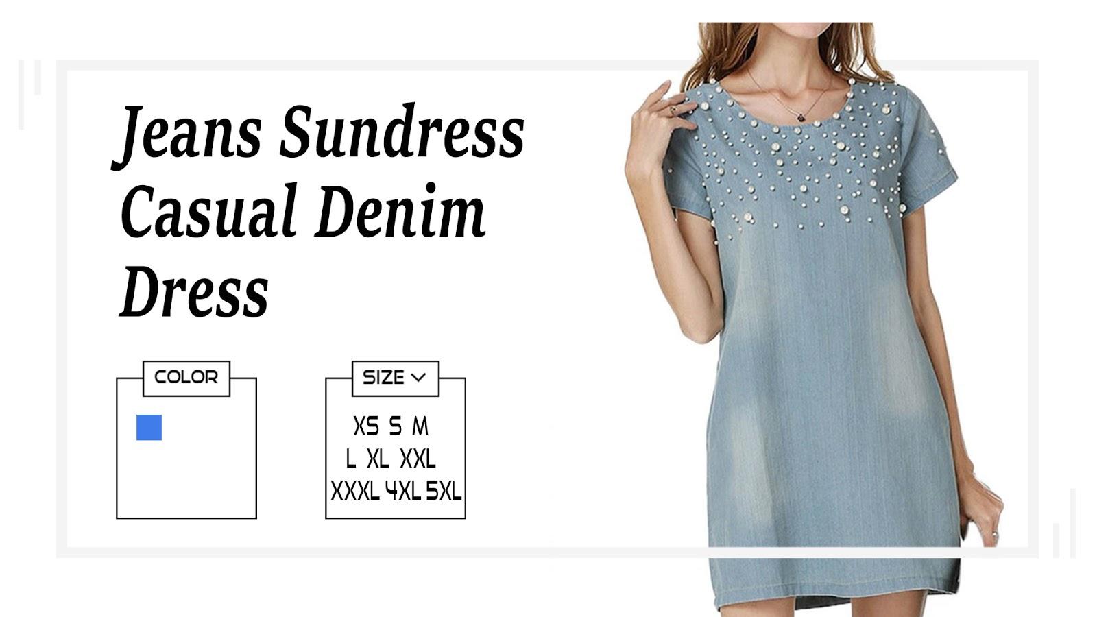 ab776a555da Women s Casual Denim   Vestido Summer Spring Style Beaded Party Tunic Dress