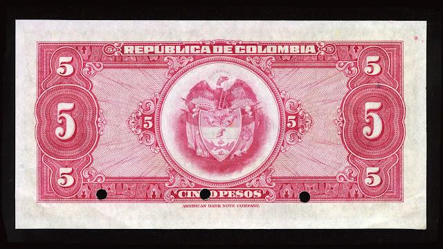 Colombia cinco Pesos Oro