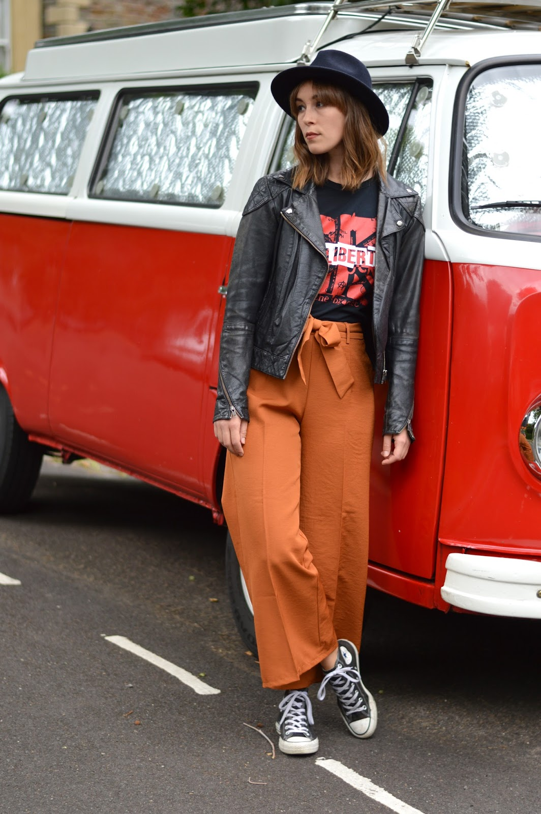 Band tee and orange culottes