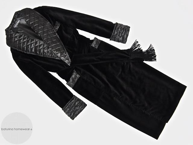 Mens black velvet dressing gown quilted silk robe warm long