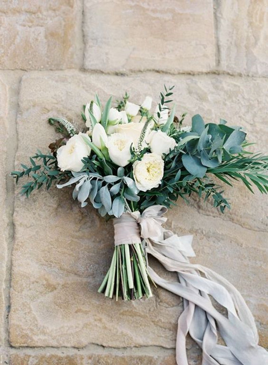 classic elegant lush white cream garden rose wedding bouquet