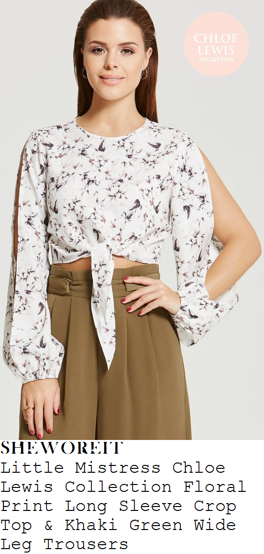 chloe-lewis-white-grey-floral-print-split-sleeve-crop-top-and-khaki-green-high-waisted-wide-leg-culottes