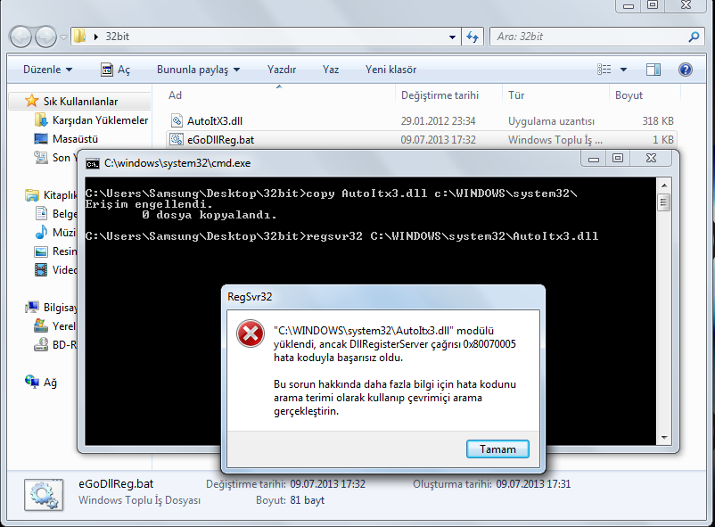 AutoItx3 dll Yüklemesi v2 (ActiveX componet can t create object