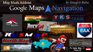 ets 2 google maps navigation normal & night version map mods addons v3.0