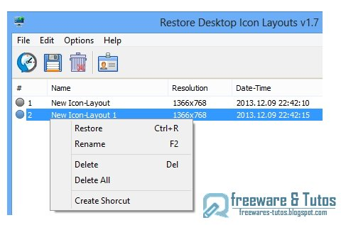 ReIcon : un logiciel pour sauvegarder la configuration de vos icônes du bureau