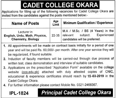 Cadet College Okara Jobs 2019 For Lecturer