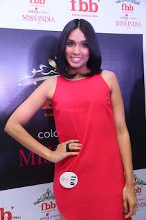 Spatika Surapaneni in Red Tight Dress at FBB Miss India 2017 finalists at Telangana auditions Feb 2017 (25).JPG