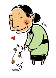 illustration chat et vieille femme