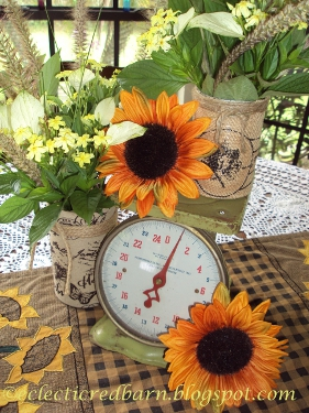 Eclectic Red Barn: Vintage scale, burlap wrapped vases and sunflowers