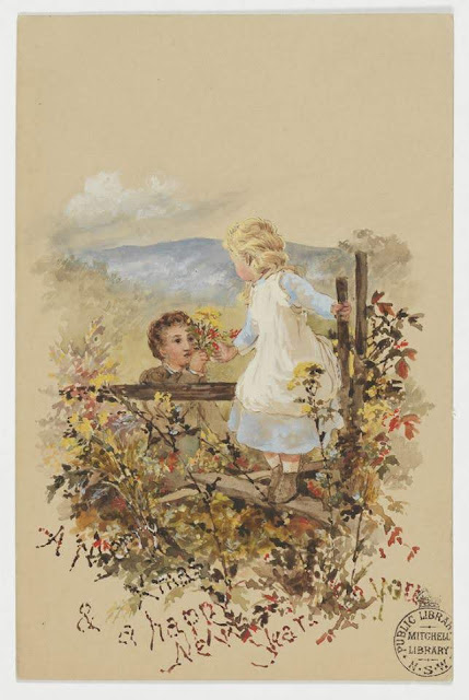 """Christmas Card design depicting a boy handing a bouquet of flowers to a little girl sitting on a fence """"A Merry Xmas & A Happy New Year to You""""."""