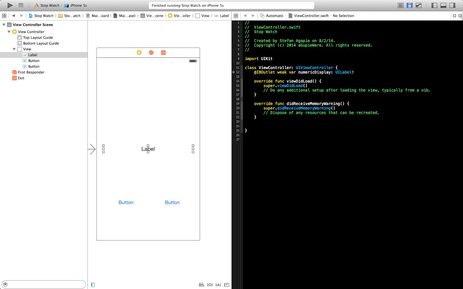 aGupieWare: Tutorial: A Simple iOS Stopwatch App in Swift