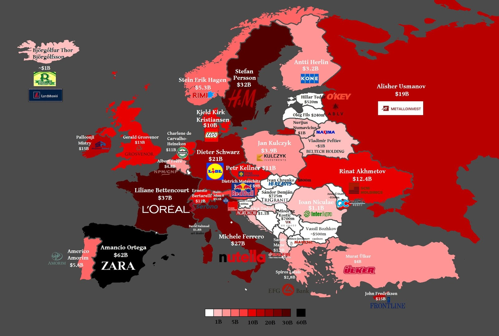 Richest Europeans by country