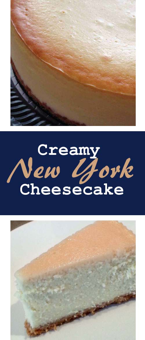 Traditional New York Cheesecake. Thick and creamy, an easy classic recipe using Philadelphia cream cheese by Kraft with Graham Crackers crust (original recipe uses Oreo cookies). Can be served plain or with any topping.