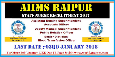 AIIMS Raipur Staff Nurse Recruitment 2017 Central Govt Jobs Notication