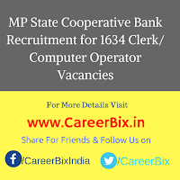 MP State Cooperative Bank Recruitment for 1634 Clerk/ Computer Operator Vacancies