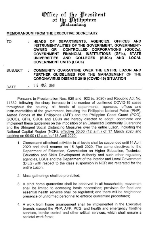 complete guidelines of the Luzon Enhanced Community Quarantine