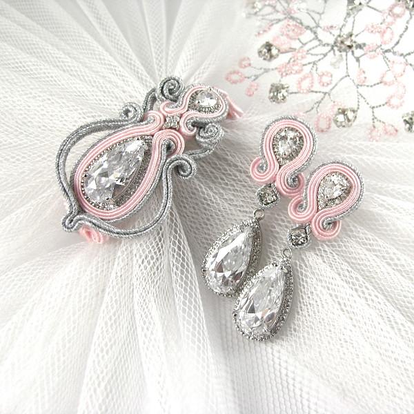 Różowa biżuteria ślubna sutasz.