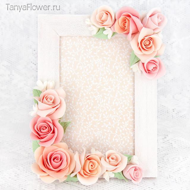 цветочная фоторамка ручной работы с розами