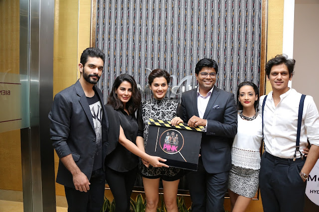 GM  Dinesh Rai with the Star cast of PINK Movie at the opening of IQ The Lounge Bar at Mercure Hyderabad KCP-min