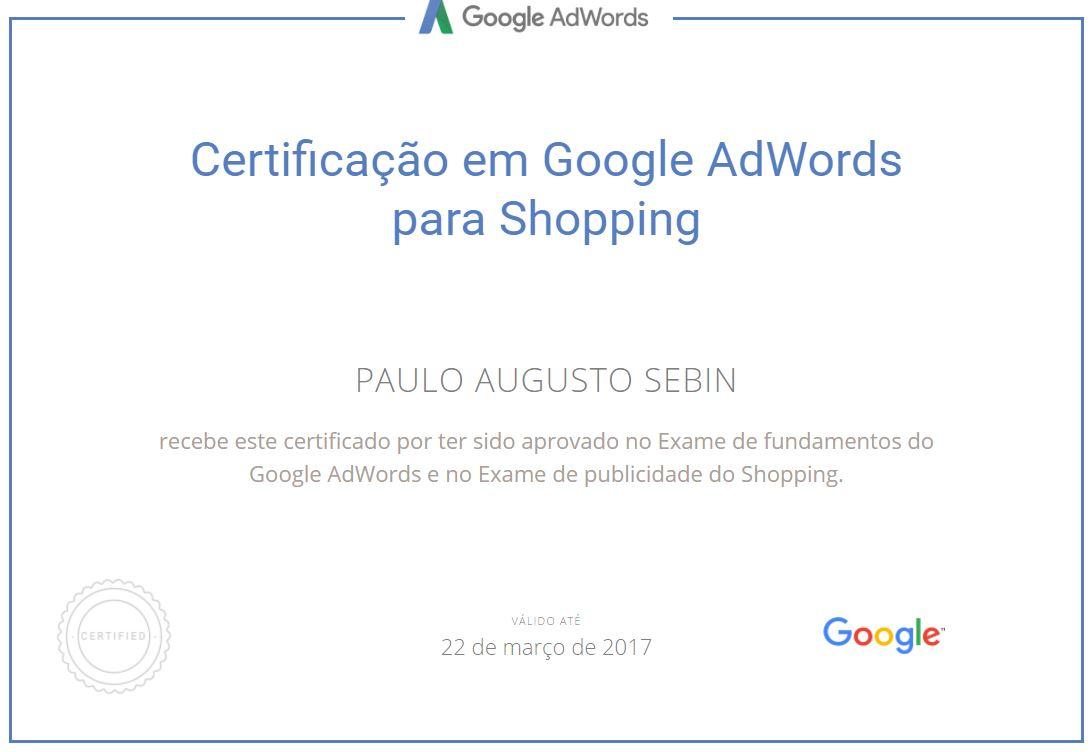 Certificado para Google Shopping