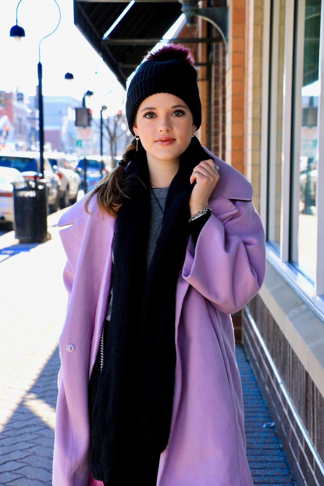 Nyc fashion blogger Kathleen Harper's light purple coat