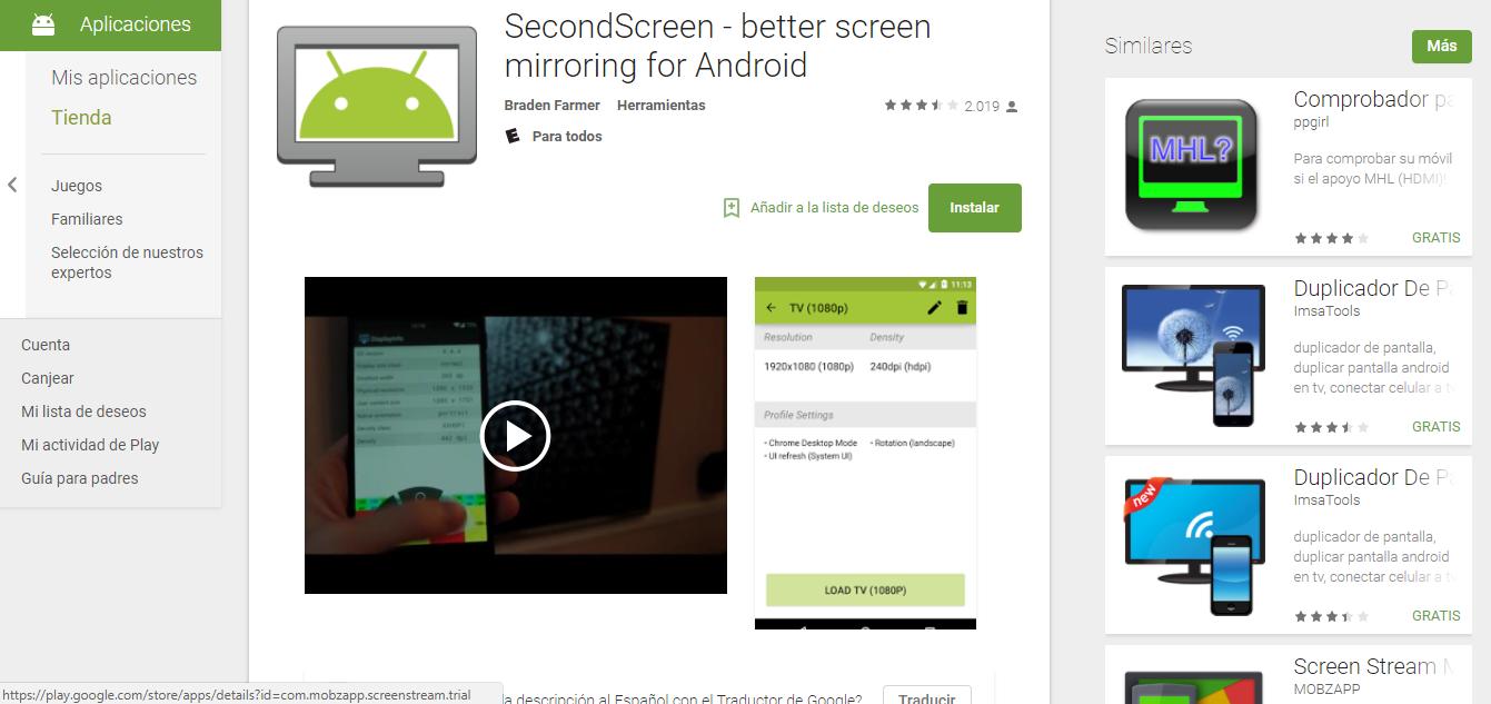 Descargar APK de SecondScreen 2.7 Crear segundas pantallas en android