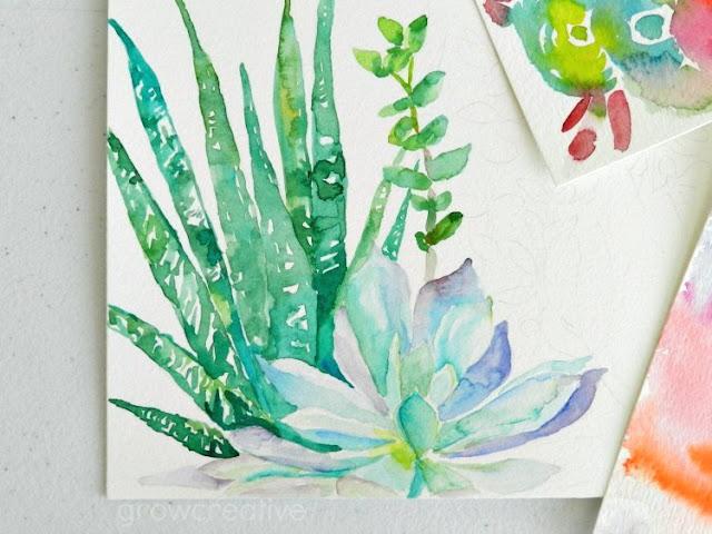 Original Watercolor Cactus Paintings by Elise Engh