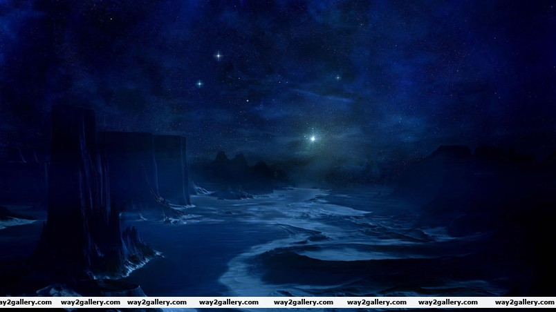 The blue cold night wallpaper
