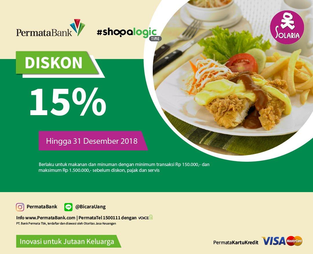 #Solaria - Promo Diskon 15% Pakai Kartu Kredit Permata Bank (s.d 31 Des 2018)