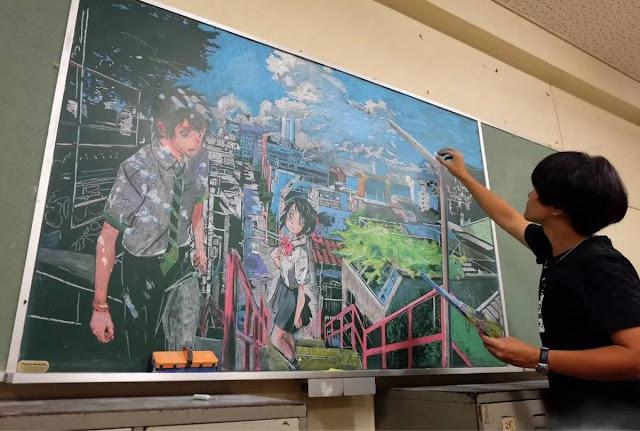 Kimi no Na wa. - kredowy rysunek Hamasaki