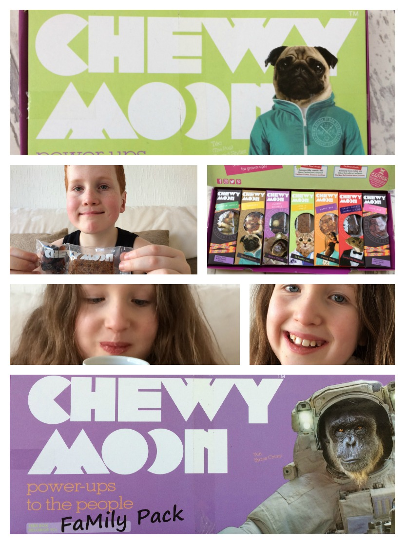 Collage of Caitlin & Ieuan enjoying ChewyMoon healthy snacks for kids