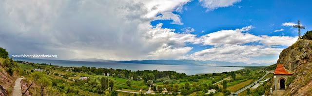 Ohrid Lake - view from cave church St. Erasmos near Ohrid, Macedonia