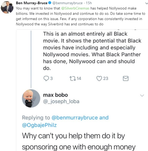 ''Nollywood movies can achieve what Black Panther has achieved'' Ben Murray-Bruce