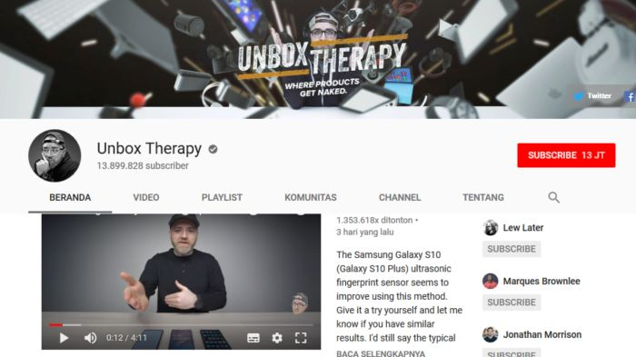 Unbox Therapy -Youtube