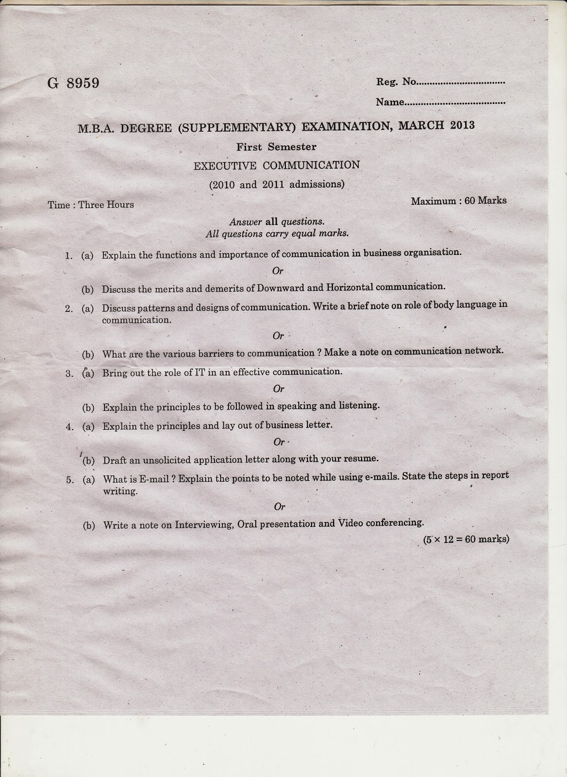 MARIAN LIBRARY: M G University first semester MBA question