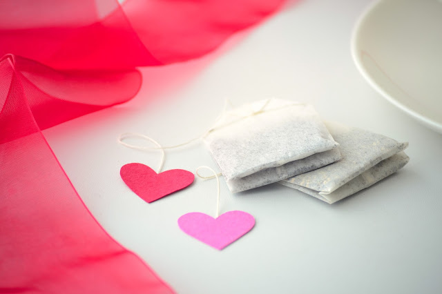 valentines day heart tea bags