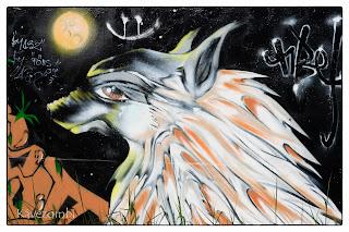 Kutya graffiti Szegeden a körtöltésen