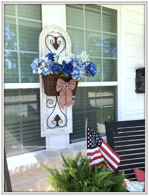 Farmhouse-Fourth of July-Hydrangea Basket-Blue-DIY-Patriotic Front Porch-From My Front Porch To Yours
