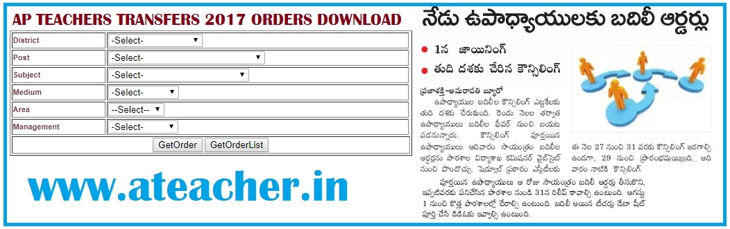 Download Transfers Order Copy in AP Teachers Transfers 2017